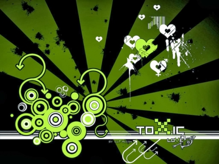 black and green love - black, green, abstract, vector