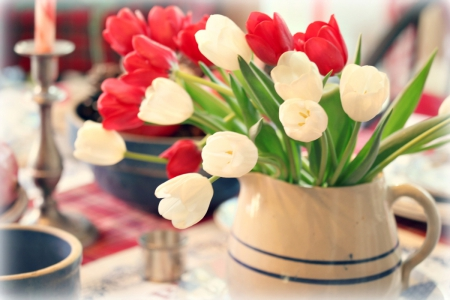 Tulips - with love, still life, red tulips, flowers, white tulips, tulips, for you
