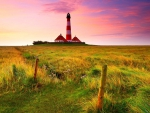 beautiful tall red and white lighthouse