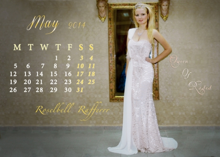 Roselbell Rafferr Calendar May 2014 - bride, yellow, beautiful, elie, gold, dior, actress, beauty, mirror, tiara, saab, model, golden, chanel, blonde, sexy, wedding, girl, princess