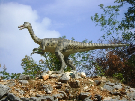 ornitholestes - model, dinosaur, hill, reptile
