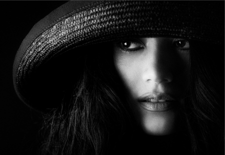 Just Thinking Of You Warms My Heart - think, face, heart, black and white, eyes, beautiful, woman, feel, portrait