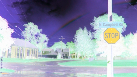 A Rainbow In Winter - co1orful, Stop Sign, rainbow, trees, sky, purp1e, violet, rain, road, Traffic Signals nSigns