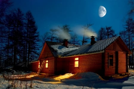 winter log cabin other abstract background wallpapers on desktop
