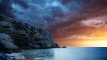sea birds flying over cliffs in sunset hdr - cliffs, birds, hdr, sunset, clouds, sea