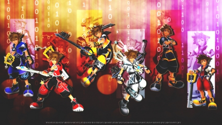 Then & Now - colorful, video game, kingdom hearts, square enix, keyblade master, final form, master form, keyblade, hero, valor form, wisdom form, sora