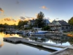 boats at house docks in sunset hdr