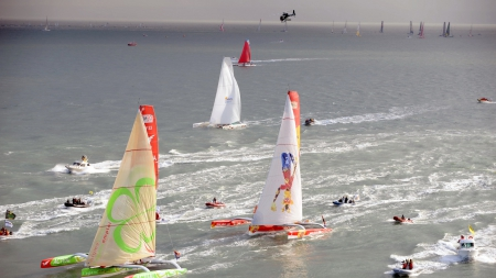 a thrilling sailboat race  - race, sea, sailboats, helicopter