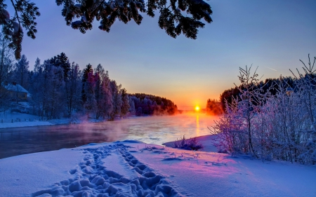 Winter sunset - glow, fiery, shine, beautiful, sunset, sundown, sunrise, road, frost, lovely, sky, trees, winter, rays, snow, nature, steps
