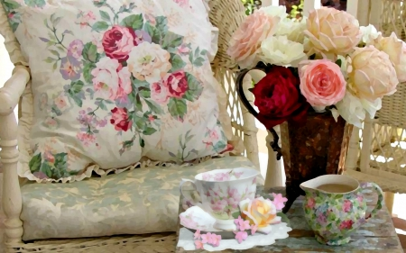 Days Past 2368x1729 - retro, victorian, tea time, flowers, cup, roses, tea, vintage