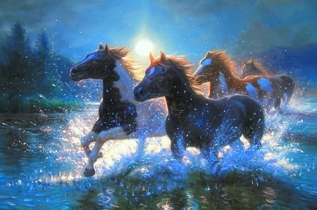 ★Night Mares★ - moons, paintings animals, love four seasons, attractions in dreams, splash water, horses, paintings, animals, rivers