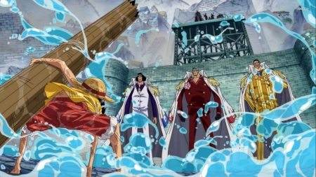Luffy and the 3 Admirals - sakazuki, pirates, admirals, borsalino, anime boy, one piece, fantasy, cool, water, kuzan, uniform, men, anime, awesome, luffy, monkey d luffy