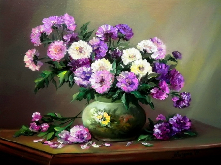 Still life - pretty, art, lovely, vase, beautiful, delicate, freshness, still life, leaves, nice, bouquet, painting, flowers, petals, harmony