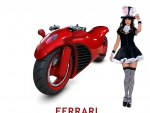 Ferrari Motorcycle and supermodel