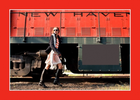 supermodel and a diesel locomotive engine - railroad, cute, train, girl