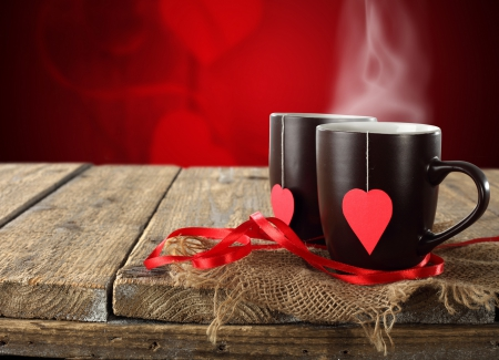 With Love - valentines day, with love, love, tea time, hearts, tea, cups