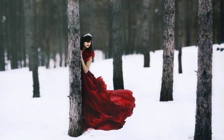 @ - red and white, fantasy arts, snow, beauty, trees, scenary, winter