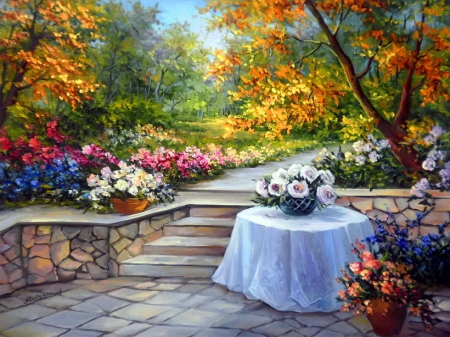 Floral paradise - pretty, vase, beautiful, fragrance, floral, leaves, nice, painting, flowers, beauty, harmony, table, art, lovely, scent, park, trees, paradise, bouquet, summer, garden, petals
