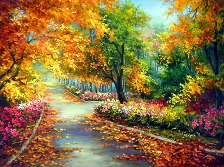 Beautiful park alley - forest, colorful, art, lovely, colors, beautiful, park, trees, floral, leaves, painting, flowers, path, nature, alley