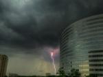 lightning near a modern building