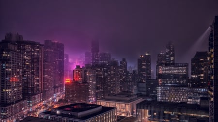new york city on a foggy night hdr - city, hdr, streets, lights, fog, night, skyscrapers