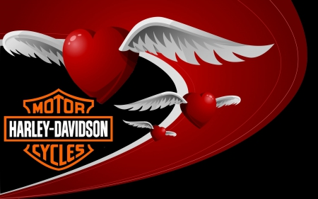 ♥Harley Valentine♥ - logo, wings, hearts, Valentine, motorcycles, Valentines Day, Harley Davidson, Harley, Valentines