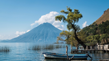 volcano at lake atitlan in guatamala - tree, boat, clouds, volcano, lake