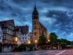 beautiful church square in boeblingen germany hdr