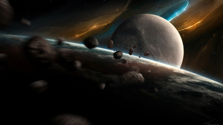 Nightfall - moons, planets, debris, galaxies, 3D, asteroids, space