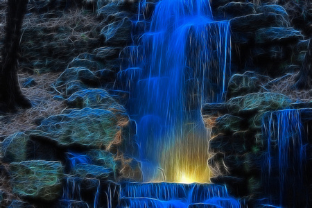 Blue Fall - beautiful, blue, falls, water, nature, rocks, bright