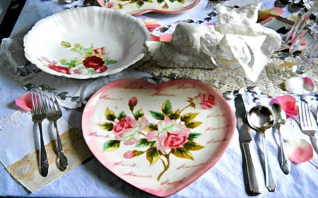 Dinner for Two 2560x1600 - romantic, rose, china, dishes, shabby chic, valentine, roses, hearts, lovers, antique, vintage