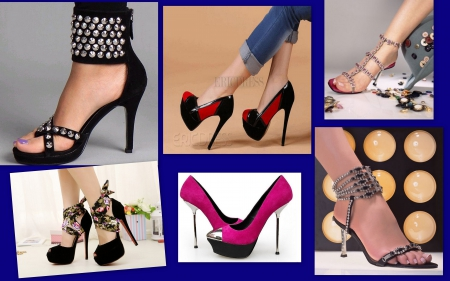 lovely stilettoes - stilettoes, black and pink, people, black, other, shoes