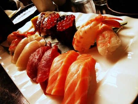 Sushi Plate - shrimp, fish, salmon, plate, sushi, abstract