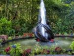 wonderful garden fountain hdr