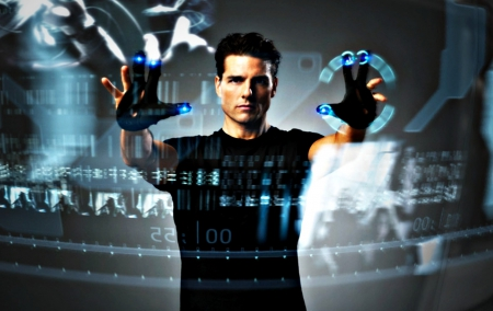 Tom Cruise as John Anderton - touch screen, movie, black, minority report, man, actor, blue, tom cruise