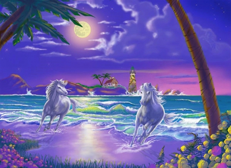★Seaside Stallions★ - colorful, stunning, paintings animals, beautiful, digital art, clouds, xmas and new year, paintings, moon, lighthouses, bright, heaven, flowers, seaside, drawings, animals, stallions, colors, love four seasons, creative pre-made, seaside stallions, trees, horses, plants, nature, beloved valentines
