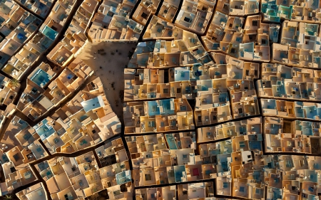 fantastic view of roofs from above - alleys, view, roofs, square, town