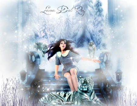 lana del rey   and the tigers of solstice - white tiger, forest, lana del rey wallpaper, legs, tigers, plar vortex, winter, cold, lana del rey     2014, hair, winter wallpaper, amazing wallpaper, snow, freeze, lana del rey new, nblue