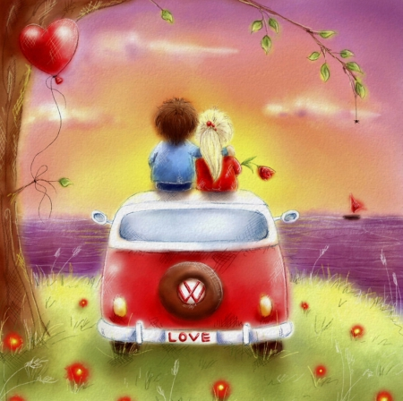 My valentine day - sun, lovely, ocean, blonde, beautiful, valentine, boy, splendor, girl, love, heart, car, painting, flower, color, flowerpower