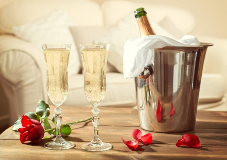 Romantic Evening! - table, romantic evening, holiday, bottle, lobes, wine glasses, red rose, love, flower, petals, champagne