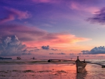 outrigger boat on a gorgeous philippines sunset