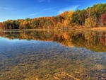 fantastic clear shallow river in autumn hdr