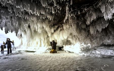 Ice Caves on Lake Michigan - Lake, Cave, Icicles, USA
