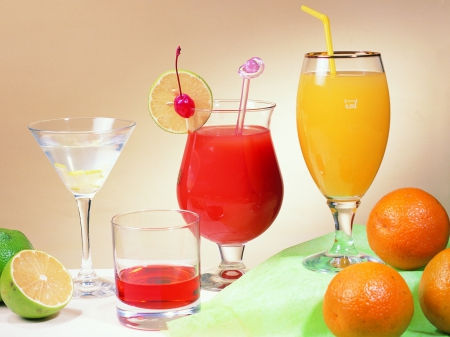 Drinks - fruit, citrus, food, fruits, drinks, glasses, drink, wine glasses
