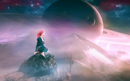 *** Dreams of the Moon *** - girl, moons, dreams, space