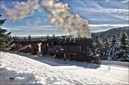 Old Steamtrain - railroad, snow, mountains, nature, steam, winter