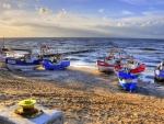 a fleet of colorful boats in postomino poland hdr