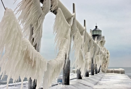 ST JOSEPH LIGHTHOUSE - ICE, LIGHTHOUSE, FROZEN, COLD