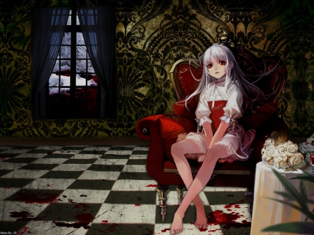 Elice - red, pretty, beautiful, dres, anime, beauty, long hair, table, female, window, black, cute, girl, dark, lady, white, sofa