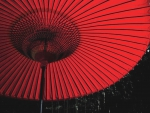Red Parasol on a Rainy Night